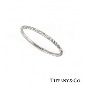 Tiffany & Co. 18k White Gold Metro Diamond Set Eternity Ring